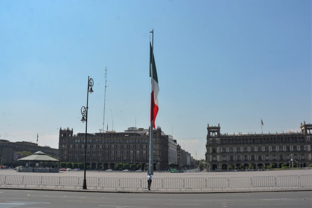 Zócalo Capitalino in Mexico City's historic center is almost empty during the afternoon of April 6.Photo: Medios y Media/Getty Images